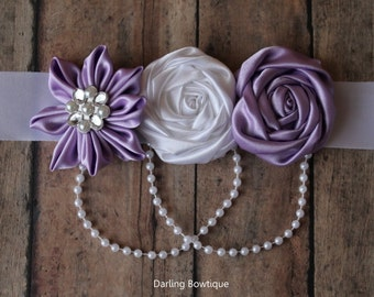 White and Purple Lavender Sash with Kanzashi Flower