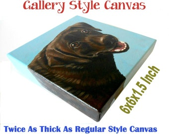 "6x6x1.5"" Gallery Style Canvas Acrylic Custom Dog Portrait, 1 Pet Close-Up Solid background, Gift Memorial"