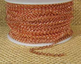 2.0mm Rolo Chain - Bright Copper - 2.0mm Links - CH48 - Choose Your Length