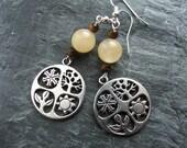 Yellow Jade and Tiger's Eye  Gemstone Seasons Earrings, Summer Jewellery, Summer Earrings, Large Bead Earrings, Nature Earrings, Nickel Free