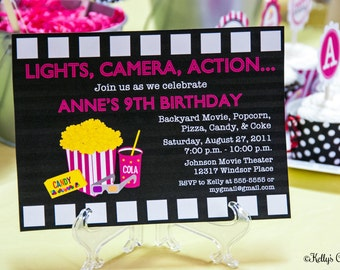 Movie Night Invitation, Pink... Custom, Printable, Digital