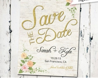 Rustic Save the date with birch, floral Save the Date, printable save the date, glitter save the date, digital file (JPD141)