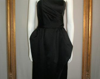 Vintage Victor Costa Black Strapless Evening Dress - Size 10