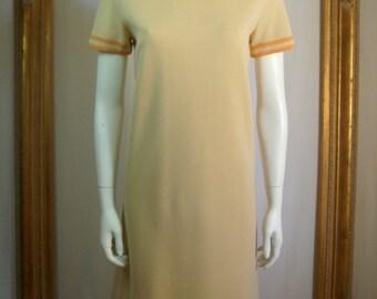 Vintage 1970's Beige Wool Dress - Size 10