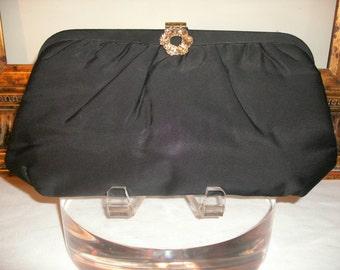 Vintage 1960's Garay Black Fabric Evening Bag