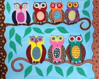 Kerri Ambrosino Art NEEDLEPOINT Mexican Folk Art Owls Sky Blue Trees Family Friends Pastels