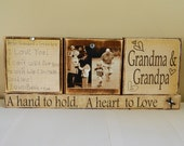 Grandparent Christmas gift personalized photo and note brown shabby chic wooden blocks grandma and grandpa a hand to hold a heart to love