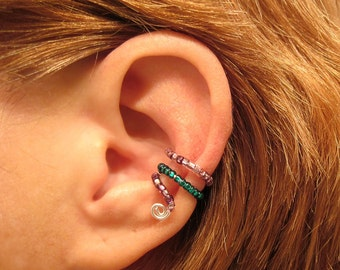 Ear Cuff  Beaded Cartilage Conch Cuff Non Piercing Seeded Loops Lavender Green