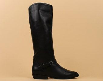 80s Vtg Black LEATHER Sleek Equestrian Riding Tall Boots / Deadstock Mint! / Minimalist Mod Buckle Boot / Almond Toe Slip On / 7.5 / Eu 38