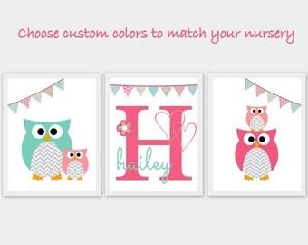Owls, bunting, Nursery, children, kid, baby room, artwork, art, print, girl boy, pink, aqua, teal, chevron, gray, custom, set of 3, monogram
