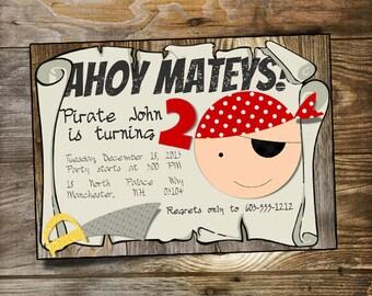 Pirate Invitation Printable - Customized Pirate Birthday Party Invitation / Ahoy Matey Boys Birthday Party Invite / Toddler 2nd Birthday DIY