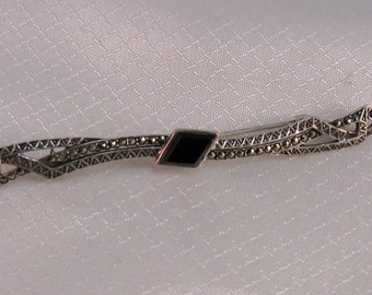 Victorian - Art Deco Sterling Bar Brooch with Onyx and Marcasites.