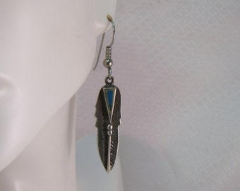 Navajo Inspired Sterling and Turquoise Feather Earrings