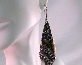 Balinese Sterling Tribal Earrings, Gold Vermeil and Sterling