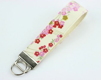 "Cherry Blossoms 1"" Key Fob, Key Chain, Gift For Her, Wristlet Keychain, White, Red, Navy"