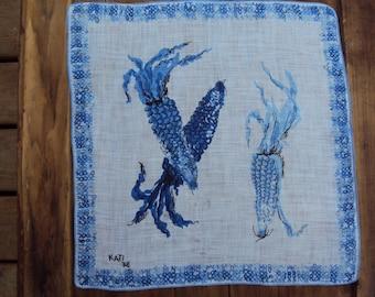 Vtg. Kati Hanky, Corn Delft Blue White