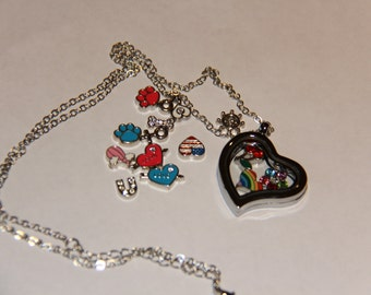 A set of magnetic floating locket bracelet, 30mm heart sharp necklace with 12 pieces of birthstone