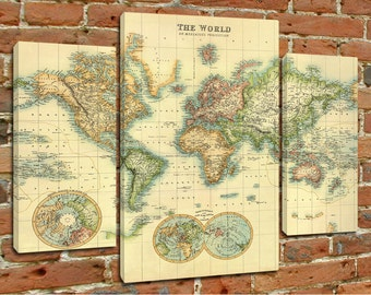 Map of the world - Canvas print - Mounted canvas prints  ready to hang - Sectional map - Giclee on canvas