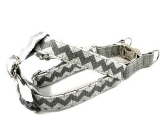 Dog Harness, CHEVRON GRAY, Handmade Dog Harness, Dog Step in Harness, Step in Dog Harness