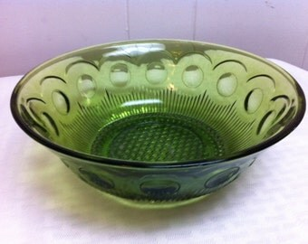 Clearance Manhattan green salad bowl Bartlett Collins Glass vintage 1960s