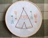 Hand embroidered hoop art, nursery wall art, teepee and arrows
