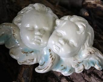 Angel Cherub Shabby Chic Pair Gold Gilt Plaster Porcelain