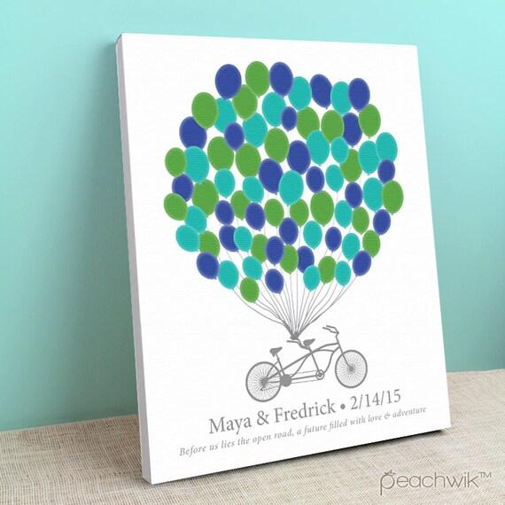 hochzeit gast buch leinwand tandem fahrrad bikewik von peachwik. Black Bedroom Furniture Sets. Home Design Ideas