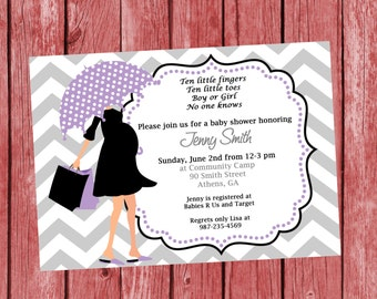 DIY Modern Mom Printable Baby Shower Invitation. Printable Baby Girl Chevron Shower Invitation.  Purple Baby Shower.