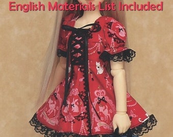 MSD Corset and Puffy Sleeves Lolita Dress BJD Sewing Pattern PDF Tutorial, English templates names, Sewing key included