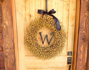 Monogram Wreath-Wreath-Fall Wreath-Yellow Wreath-Summer Door Wreath-Scented Wreath-Outdoor Wreath-Country Cottage Home Decor-Cutom Gifts-