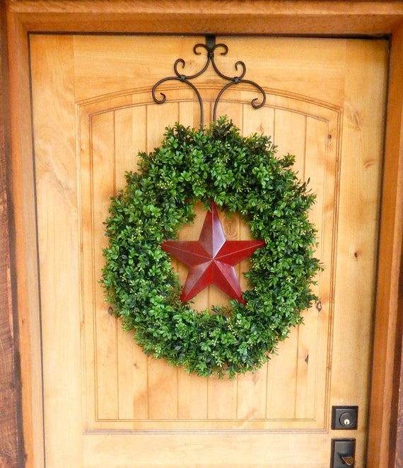 Summer Wreath-Boxwood Wreath-Summer Door Wreaths-RED BARN STAR Wreath-Texas Star Wreath-Grapevine Wreath-Outdoor Wreath-Scented Wreaths-Gift