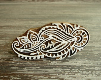 Indian Printing Block, Hand Carved Wood Block Stamp, Flower Scroll Shell Leaf Feather, Wooden Ceramic Clay Pottery Textile Stamp from India