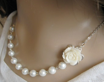 Rose pearl necklace, bridesmaids necklace, wedding jewelry - F006 (Choose your pearl colour)
