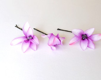 Purple and lilac flower hair pins hair slides hair grip bobby pins for wedding flower girls prom pack of three