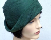 Forest green hat, felt cloche, 1920s inspired hat, art deco fashion, vintage inspired, 20s accessory