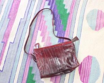 Eelskin Leather Purse / Burgundy Vintage Handbag / Women's Clutch