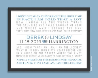 First Dance Song Lyrics, Personalized Wedding Gift, Art Print, Engagement Gift, Anniversary Gift, blue & gray