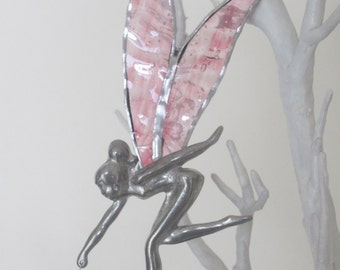 Tinkerbell Fairy Stained Glass Suncatcher Pewter Body holding a Crystal