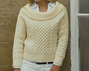 King Cole Knitting Patterns To Download : knit womans diamond pattern aran boatneck long sleeves pullover jumper tunic ...