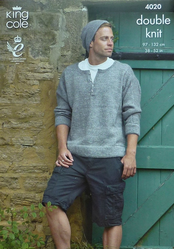 Mens Knitting Pattern K4020 Mens 3/4 Sleeve by ...