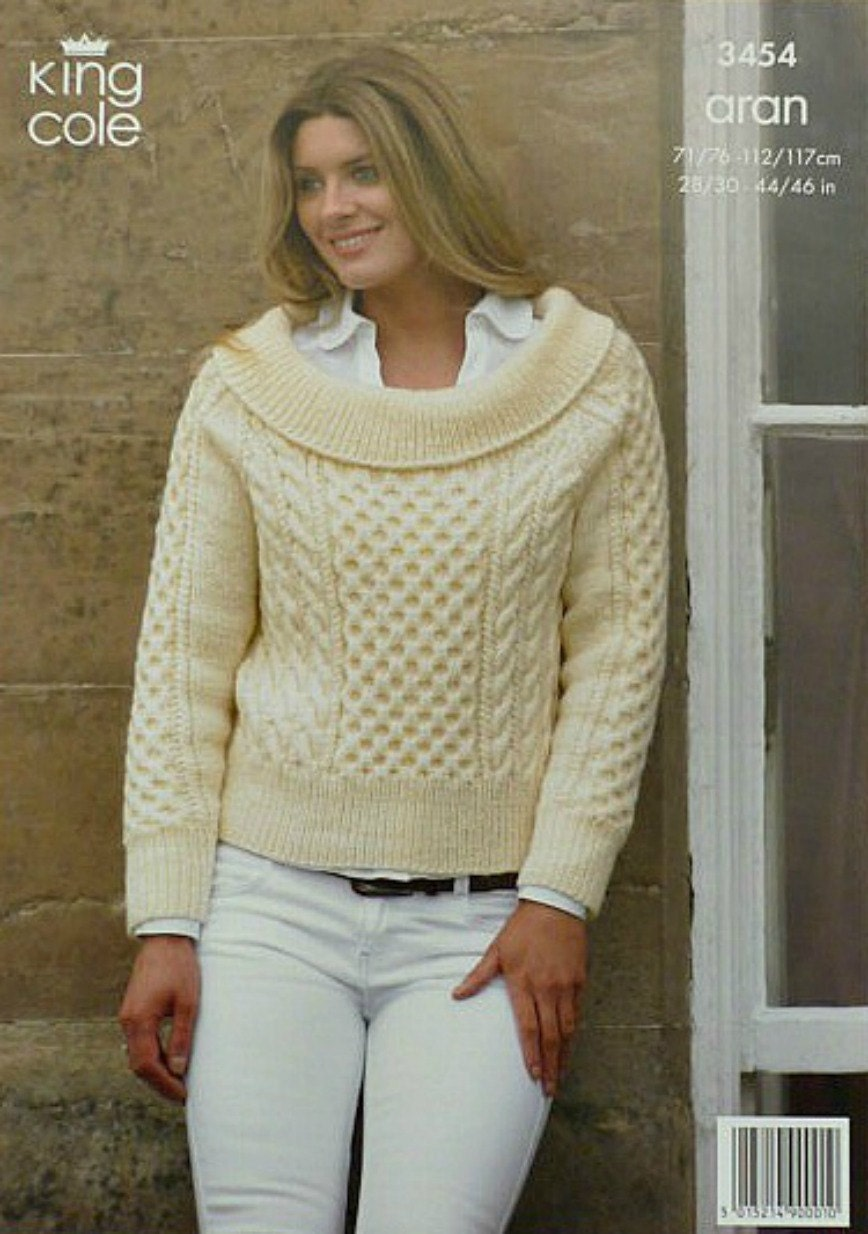Womens knitting pattern k3454 ladies long sleeve boat neck jumper womens knitting pattern k3454 ladies long sleeve boat neck jumper knitting pattern aran worsted king cole bankloansurffo Images