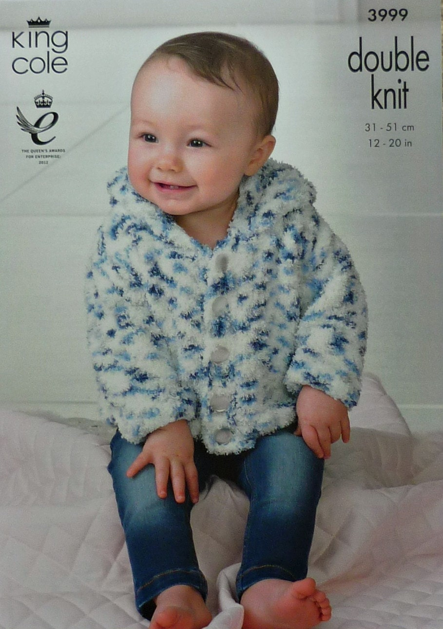 Knitting Pattern Baby Hooded Jacket : Baby Knitting Pattern K3999 Babies Long Sleeve Hooded Jacket Knitting Pattern...