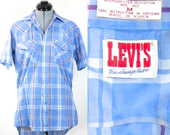 SALE Vintage Retro Levis Hipster Striped Button Up Collared Shirt Medium