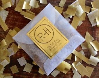 Gold Monogram Favors  - wild flower seeds favors