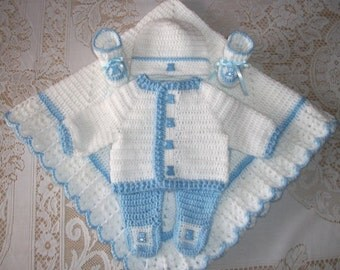 Baby Boy Blue and White Crochet Layette Sweater Set Leggings, Booties and Blanket Perfect For Baby Shower Gift or Take Me Home outfit