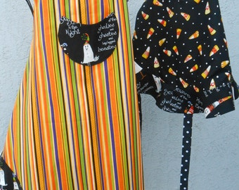 Matching mother and daughter spooky aprons with ghost buttons reversible