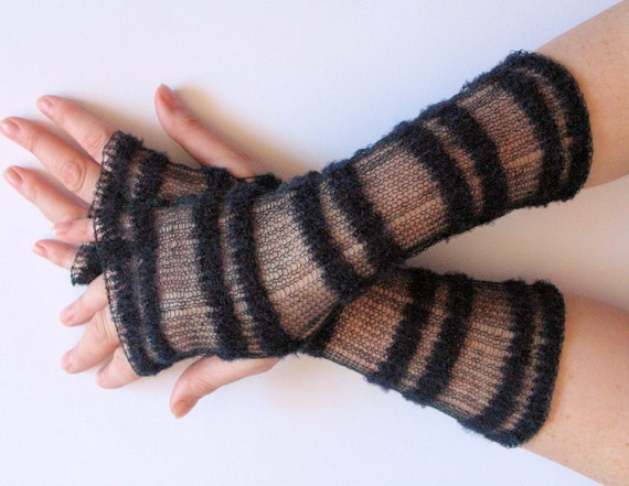 Long Wedding Blue Black Bridal Gloves Lace Gloves Fingerless