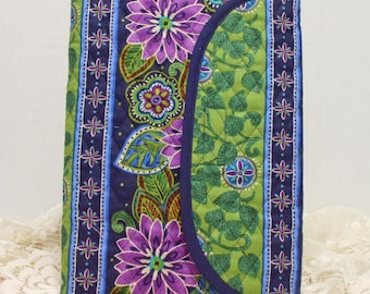 Large Quilted Journal - Purple Floral Stripe on Navy Large  Quilted Journal