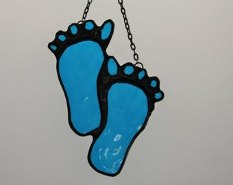 Baby's Footprints Stained Glass Suncatcher