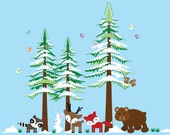 Woodlands Tree Wall Decal, Kids Pine Trees Wall Decal, Forest Decal REUSABLE DECAL N114